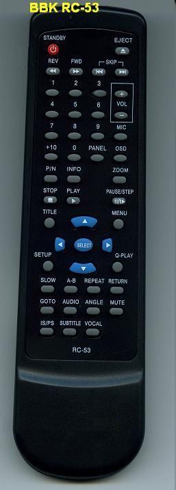 BBK RC-53 (DVD player) (BBK-916S, BBK-931S, BBK-938S, BBK-939S, BBK-965S, BBK-969S, DV516S, DV521S, DV721S, DV964S, DV966S, DV975S)